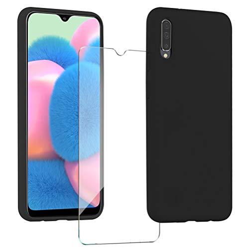 XinYue Cover per Samsung Galaxy A30S / A50 + Pellicola Protettiva in Vetro Temperato, Custodia Liquid Silicone TPU Cover Ultra-Sottile AntiGraffio Case with Soft Microfiber Cloth Cushion - Nero