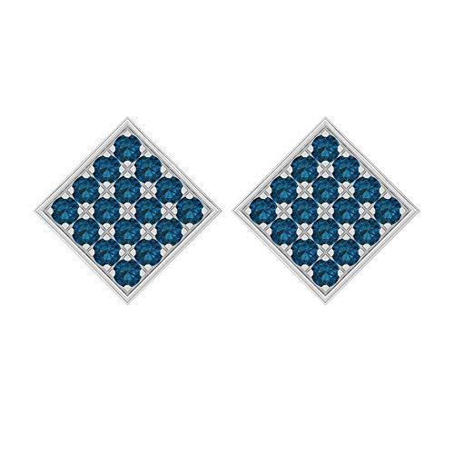 Pendientes de tuerca cuadrados, 1,60 quilates, forma redonda, 2 mm, topacio azul Londres, pendientes de tuerca, pendientes de oro, tornillo hacia atrás