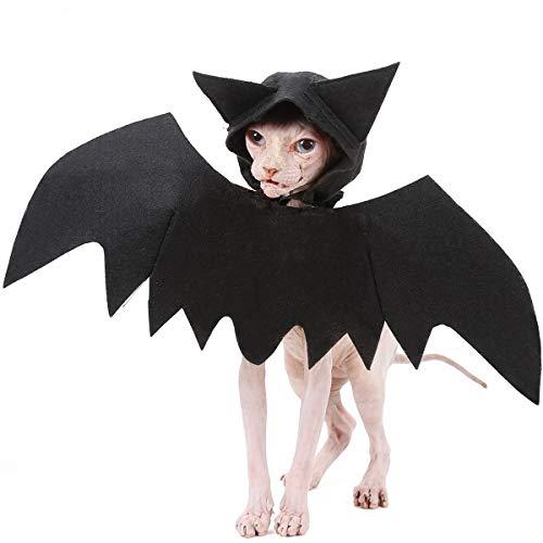 NashaFeiLi Fledermausflügel für Hunde und Katzen, mit Kapuze, Fledermausflügel, Cosplay, Halloween-Kostüm