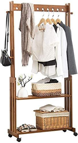 Perchero de bambú para dormitorio, secado de madera, con zapatero (tamaño: 60 cm)