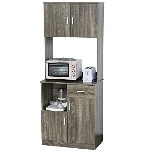 HOMCOM Modern Kitchen Buffet with Hutch Pantry Storage, Microwave Counter, 2 Cabinets, and...