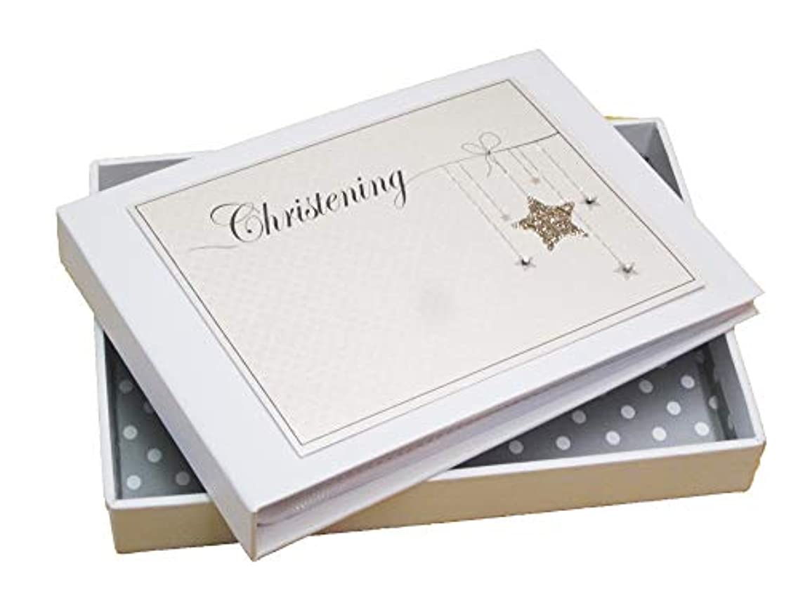 White Cotton Cards Christening Mini Photo Album, Gold Star (CGS1T)