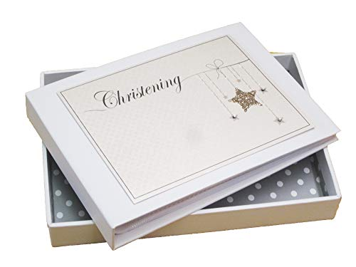 Witte Katoenen Kaarten Christening Mini Fotoalbum, Gouden Ster (CGS1T)
