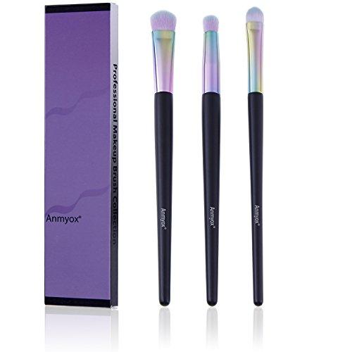 Brosses de maquillage Anmyox Premium synthétique Kabuki, contour de nez,mélangeur, brosses à paupières, trousse de pinceau de maquillage (3 pcs)