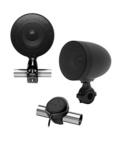 BOSS Audio Systems MCBK625BA Motorcycle Speaker Sound System - Bluetooth, Amplified, Weatherproof, 3 Inch Speakers, Multi-Function Volume Control, Also Use with ATVs UTVs