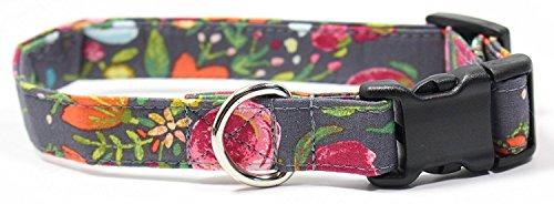 Ruff Roxy Rosey Posey, Designer Cotton Dog Collar, Adjustable Handmade Fabric Collars (S), Grey, Pink, Yellow