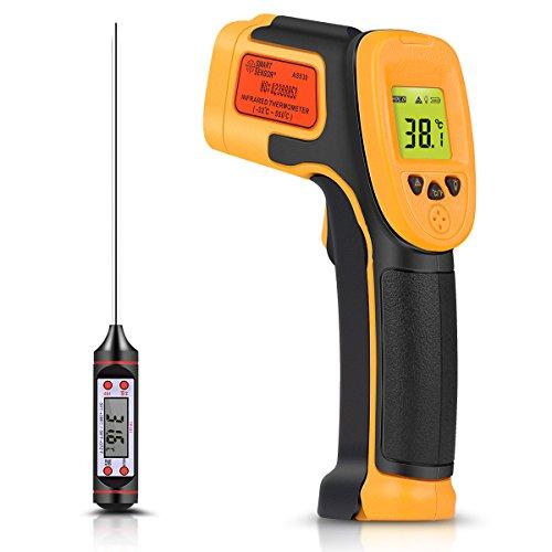 Termómetro infrarrojo, termómetro láser digital IR Pistola de temperatura -32 ° C ~ 550 ° C (-26 ° F ~ 1022 ° F) Termómetro no humano para cocinar / aire / refrigerador - Termómetro de carne incluido