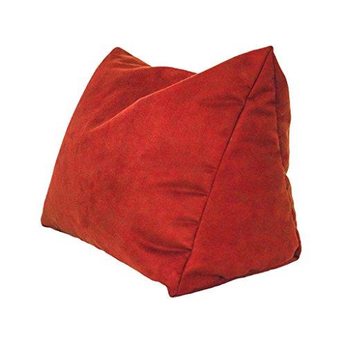 Lesekissen und Rückenstütze in Mikrofaser für optimalen Sitzkomfort Keilkissen Nackenkissen Dekokissen Fernsehkissen für Bett und Couch mit Schaumstoffflocken (rot)