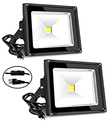 50W Outdoor Flood Light, 6000lm Super Bright Security Light with Plug, 5000K Daylight White, IP65 Waterproof Outdoor LED Floodlight for Yard, Garden, Playground, Party