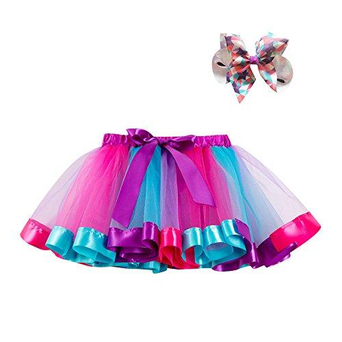 Kobay Kinder Mädchen Mesh Regenbogen Prinzessin Ballett Tutu Performance Rock + Bow Haarnadel Set(8-10T,Lila-2)