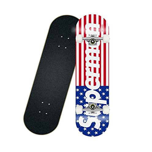 KANGDILE Patinetas para Principiantes, 31 Pulgadas 8 Capas Maple Double Kick Concave Skate Tablero con Anti-Shock PU Ruedas para niños Adultos (Color : P)