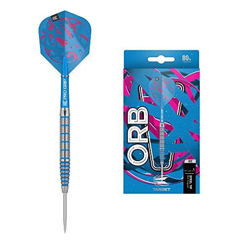 Target Darts Orb 02 80% Wolfram Steeldarts-Set (24gr - Dartpfeile) Silber, Blau und Pink