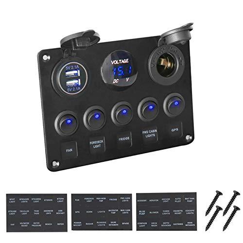 Interruptores basculantes de coche de barco Inactividad Car marina del barco LED Rocker panel del voltímetro digital USB de doble combinación de puerto de salida de 12V para camión de barco sedán