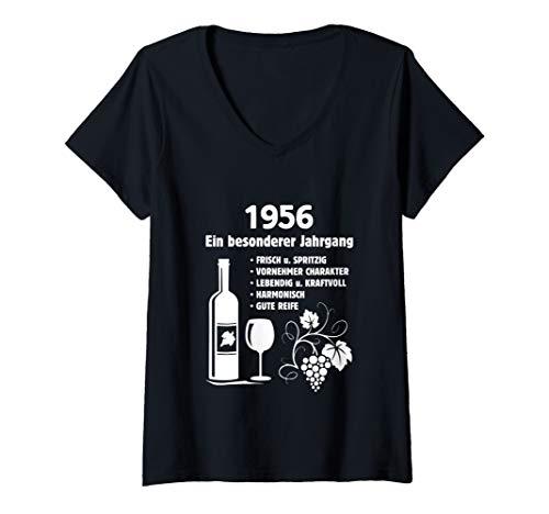 Damen Geburtstag Geschenk Wein Vintage - Besonderer Jahrgang 1956 T-Shirt mit V-Ausschnitt