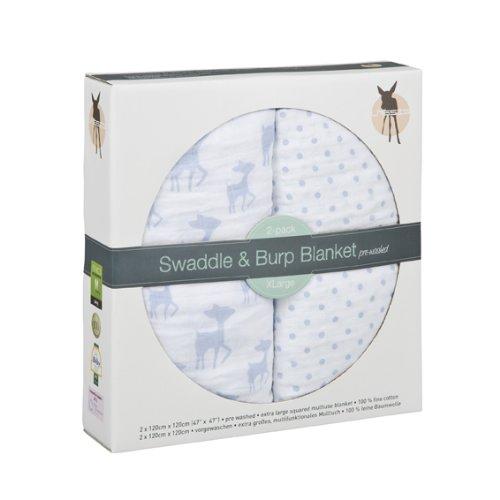 Lässig Lange Mousseline - Couverture - Couverture Multifonctions en 100%; Cotoncouverture légère, linge d'allaitement ou pour y envelopper Bébé - X-Large Lela