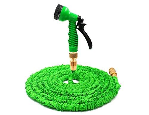 Bashley Gartenschlauch Erweiterbar Wasserrohr,3 mal Erweitern Flexibel Leicht Zauber Schlauchleitungen Spule Mit 7 Funktion Sprühen Gewehr-Schlauch-100ft (Grün)