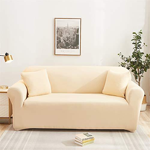 Funda Sofá de Universal Estiramiento, Morbuy Color Sólido Impresión Cubierta de Sofá Cubre Sofá Funda Furniture Protector Antideslizante Elastic Soft Sofa Couch Cover (Beige,2 plazas)