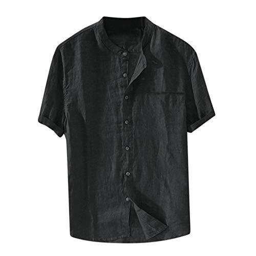 Yowablo T-Shirts Tops Hommes Baggy Coton Lin Couleur Unie À Manches Courtes Chemisier Rétro (4XL,Noir)