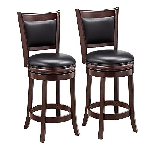 Ball & Cast Swivel Counter Height Barstool 24 Inch Seat Height Cappuccino Set of 2