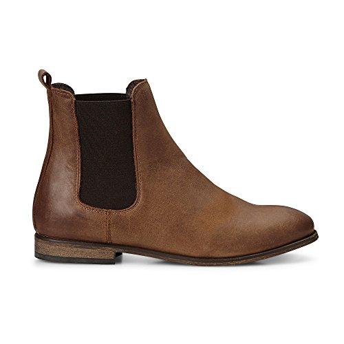 Cox Damen Damen Chelsea-Boots in Braun aus Leder, Stiefelette mit Stretch-Einsatz Braun Leder 38