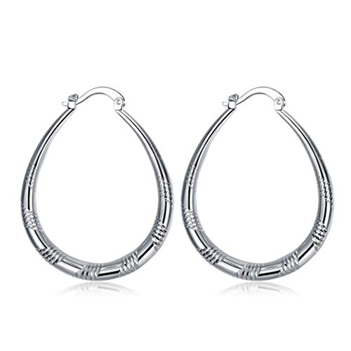 FAVOMOTO 1Pair Circle Earrings, Circle Silver Earrings, Oval Earrings, for GirlsJewelry Earrings