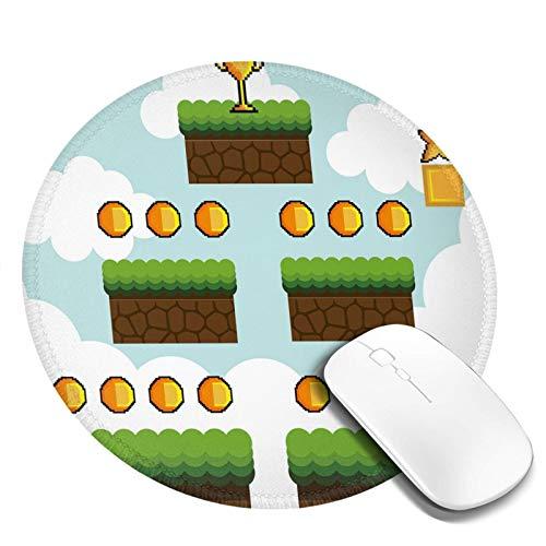 Alfombrilla de ratón redonda lavable, diseño de píxeles de dibujos animados, para trofeo, puntos de salto de nivel superior, corazones rojos, base de goma antideslizante