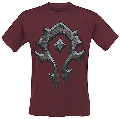 World of Warcraft Horde Logo Hombre Camiseta Burdeos XL, 100% algodón, Regular