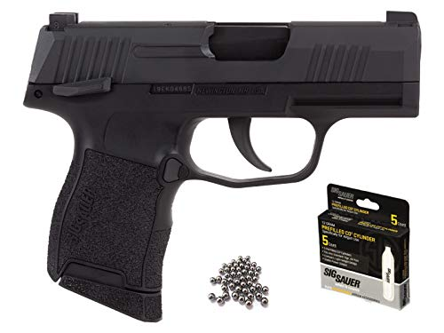 Sig Sauer P365 BB Gun Air Pistol with CO2 12 Gram (5 Pack) and Pack of 100 Airgun .177/4.5mm Steel...