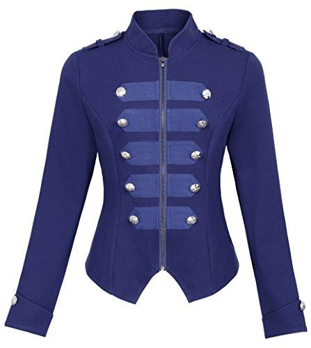 Kate Kasin Chaqueta para Mujer Azul Marino para Otoño Invierno Vintage Militar Cremallera Doble Abotonados M