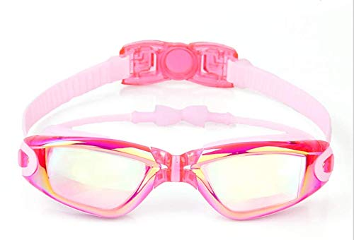 ZHONGYUAN zwembril voor kinderen, met UV-bescherming, anti-condens, met etui, neusklem, oordopjes voor jongens, meisjes in het zwembad