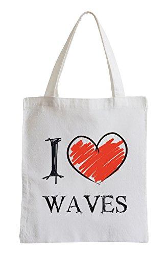 I love Waves Fun sac de jute