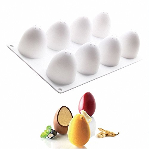 3D Easter Egg Baking Mold - MoldFun Easter Egg Silicone Mold for Mousse Cake, Peanut Butter Chocolate, Candy, Jello, Pastry, Muffin, Cupcake, Mini Soap, Lotion Bar, Bath Bomb, Candle Wax Melts