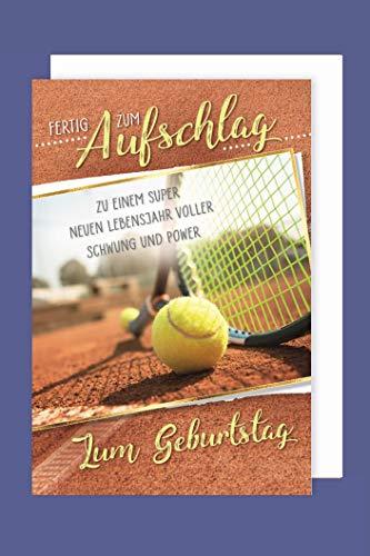 Tennis Hobby Sport Geburtstag Karte Grußkarte Aufschlag Sieg 16x11cm