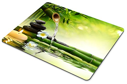 Smooffly Nature Gaming Mouse Pad,Spa Stones in Garden with Flow Water Mouse Pad Personality Desings Gaming Mouse Pad Zen Garden Theme Magical Jasmine Flower Japanese Design Photo #4