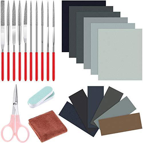 26 Stück Harz Guss Werkzeuge, Enthalten Schleifpapier Poliertuch Polier Sticks Verschiedene Formen Dateien und Scheren zum Polieren Epoxidharz Schmuckherstellung Lieferung