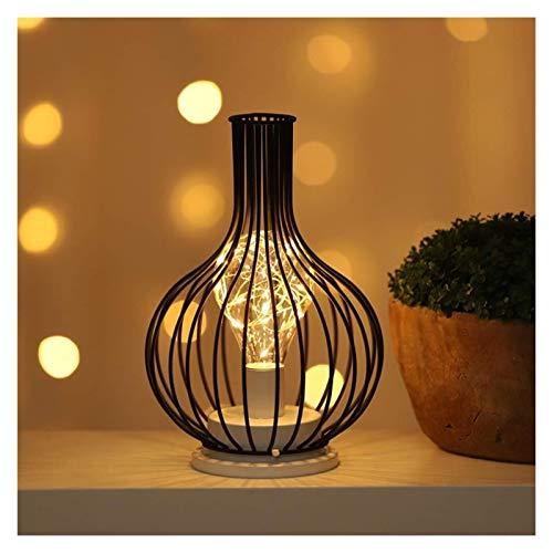Lámpara de mesa de jaula de metal vintage luz de noche de luz de noche lámpara inalámbrica luz colgante con bombilla de estilo led para bodas fiestas Patio Eventos en el interior al aire libre