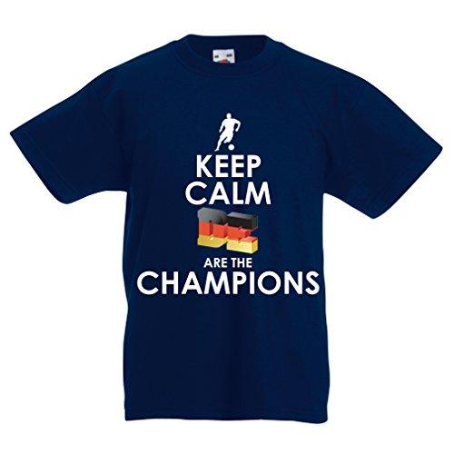 Kinder Jungen/Mädchen T-Shirt Deutsche sind die Champions - Russland-Meisterschaft 2018, WM-Fußball, Team von Deutschland Fan-Shirt (14-15 Years Dunkelblau Mehrfarben)
