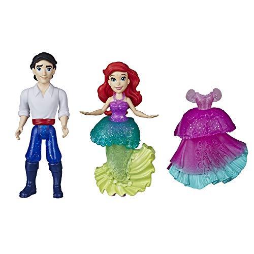 Disney Princess Ariel y el príncipe Eric colección pequeña muñeca Real Clips Juguetes de Moda con Vestido Extra