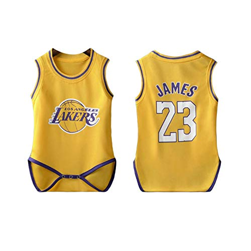 PAOFU-Baby Bodysuits NNBA Los Angeles Lakers # 23 Lebron James Fan Shirt Bodysuit