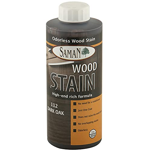 SamaN Interior Water Based Wood Stain & natural furniture, moldings, wood paneling and cabinets stain (Dark Oak TEW-112-12, 12 oz)