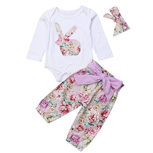 Conjunto Bebé Mono 3 Piezas Traje de Ropa para Niños con Mameluco de Dibujo Conejo de Manga Larga + Pantlones Largas Floral + Diadema Bowknot