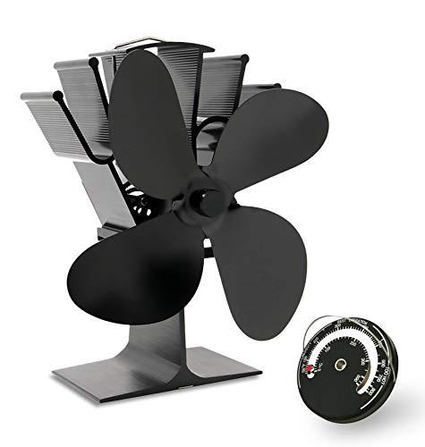 AcornSolution 4-Blatt-Heizlüfter wärmebetriebener Ofenventilator für Holz- / Holzbrenner / Kamin erhöht (Schwarz, 4-Blatt)