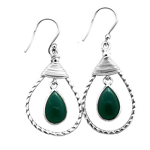 Silver Palace Pendientes de plata de ley 925 con forma de lágrima de ónix verde natural para mujeres y niñas