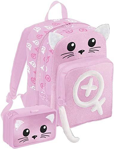 SEVEN SPA Schoolpack - Mochila escolar La Sabri Gamer rosa doble compartimento + estuche triple completo