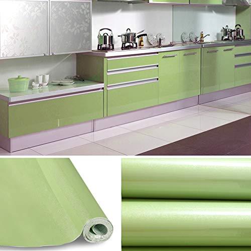 KINLO selbstklebende Folie Küche grün 2 Stk. 60x500cm (6㎡) Tapeten Küche aus PVC Klebefolie aufkleber Küchenschränke wasserfest Möbelfolie für Schrank Küchenfolie Dekofolie MIT GLITZER