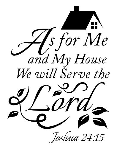Joshua 24 15 As for me and My House we Will Serve The Lord Vinyl Wall Art Inspirational Quotes and Saying Home Décor Christian Wall Decal, Bible Quotes Wall Art for Women, Men or Children-Yellow
