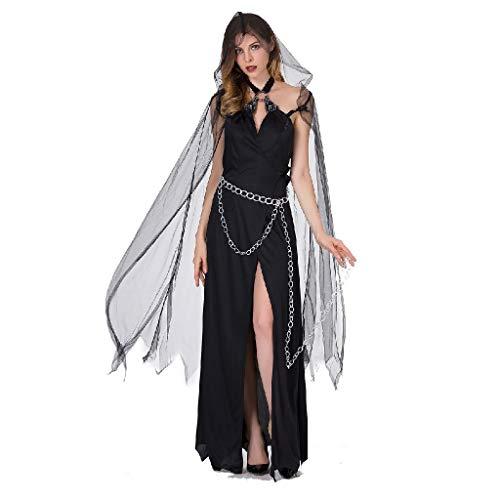 TcooLPE Traje de Bruja de Halloween Cosplay, Vestido de Bruja Bruja Bruja Discoteca Disfraz de Disfraces Modelo de Bruja Disfraz Disfraz Traje de Fantasma Negro