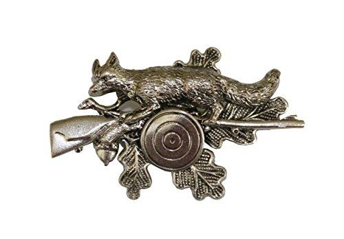 Large – Clou de chapeau, insigne de chapeau, insigne de chasse, sport de protection, badge : feuille de chêne avec renard, fusil et disque de protecti