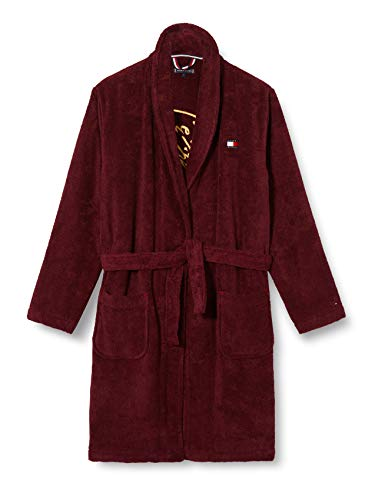 Tommy Hilfiger Jungen Towelling Signature Robe, Deep Rouge, M