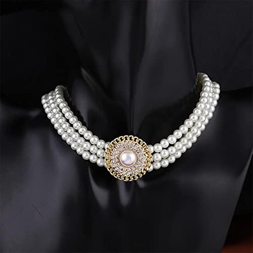SONGK Elegante Barroco de Tres hebras Collar Planet Gargantilla Collar de Perlas para Mujeres Niñas Boda Regalos Vintage Joyería de Fiesta